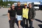 """Här är några av stjärnförarna samlade innan jubileumsracet, fr v: Tommy Jagerwall, Jan """"Flash"""" Nilsson, Erik Berger och Kenny Bräck."""