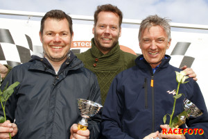 Daniel Frodin på pallen tillsammans med Ronnie Hermansson och Rolf Busch.