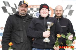 Pallen i Formel Vee Race två från vänster: Pierre Eklund, Melwin och Stefan Nilsson.